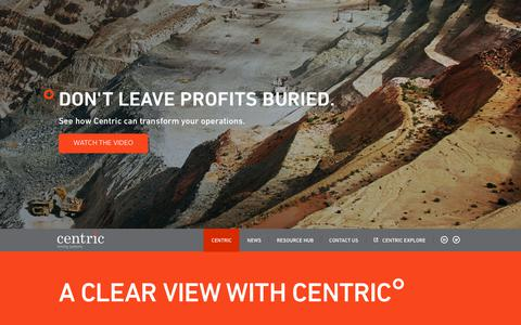 Screenshot of Home Page centricminingsystems.com - Centric Mining Systems - captured July 16, 2018