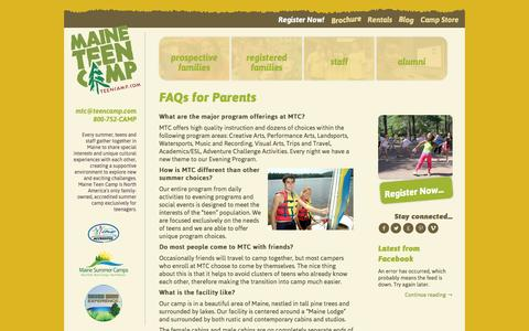 Screenshot of FAQ Page teencamp.com - FAQs for Parents | Maine Teen Camp - captured Feb. 4, 2016