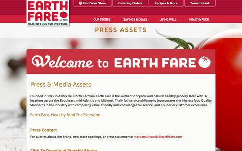 Screenshot of Press Page earthfare.com - Press Materials - captured Sept. 28, 2016