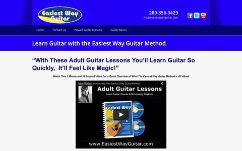 Screenshot of Home Page easiestwayguitar.com - Learn Guitar | Adult Guitar LessonsLearn Guitar with the Easiest Way Guitar - captured June 15, 2016