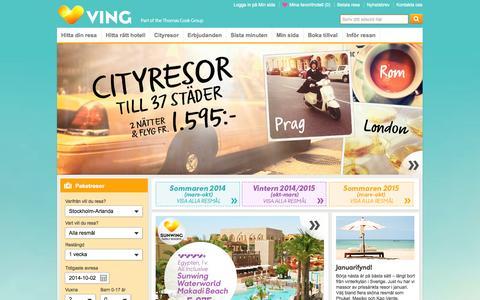Screenshot of Home Page ving.se - Resor med charter och reguljärflyg - Boka din resa hos Ving - captured Sept. 18, 2014