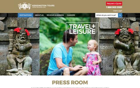 Screenshot of Press Page kensingtontours.com - Press Room | Kensington Tours - captured May 22, 2017