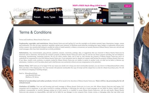 Screenshot of Terms Page missussmartypants.com - Terms & Conditions - captured Sept. 25, 2018