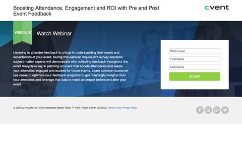 Screenshot of Landing Page cvent.com - Webinar | Cvent - captured May 29, 2018