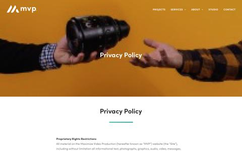Screenshot of Privacy Page maximizevideo.com - Privacy Policy - Maximize Video Productions | San Francisco Bay Area Video Production Company - captured June 19, 2019