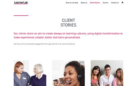 Screenshot of Case Studies Page learnerlab.com - Client Stories | LearnerLab - captured July 17, 2018