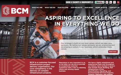 Screenshot of Home Page bcmconstruction.co.uk - BCM: Project Driven Organisation - captured May 31, 2017