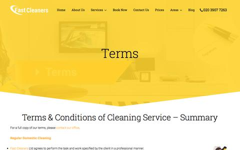 Screenshot of Terms Page fastcleaners.co.uk - Terms at Fast Cleaners Ltd | Carpet Cleaning | Top Cleaning Company - captured Oct. 13, 2017