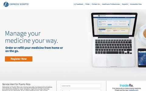 Screenshot of Home Page express-scripts.com - Express Scripts Members: Start Home Delivery, Order Refills, Order Prescriptions - captured Nov. 1, 2017