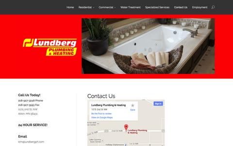 Screenshot of Contact Page lundbergph.com - Aitkin, MN Plumbing & Heating Contractor | Residential, Commercial | Lundberg Plumbing & Heating - captured Oct. 3, 2014
