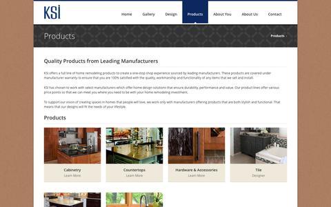 Screenshot of Products Page ksikitchens.com - Custom Kitchen & Bath Finishes | KSI Michigan & Ohio - captured Oct. 6, 2014