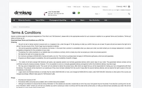 Screenshot of Terms Page drinks.ng - Terms & Conditions - captured Sept. 19, 2014
