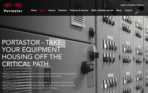 Screenshot of About Page portastor.com - Fully packaged modular buildings for mission-critical equipment from Portastor - captured Dec. 10, 2015