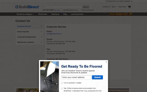 Screenshot of Contact Page builddirect.com - BuildDirect® - Flooring, Decking, Siding, Roofing, and More - captured Oct. 28, 2014