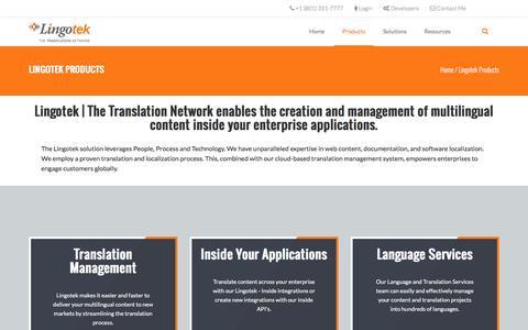 Screenshot of Products Page lingotek.com - Lingotek Cloud-Based Translation Management System | Lingotek - captured Dec. 4, 2015