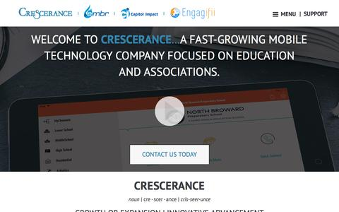 Screenshot of About Page crescerance.com - Mobile App Development Company | School Mobile Apps - captured July 23, 2018