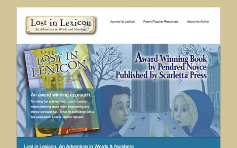 Screenshot of Home Page Menu Page lostinlexicon.com - Lost In Lexicon | An adventure in words & numbers, by Penny Noyce - captured Oct. 6, 2014