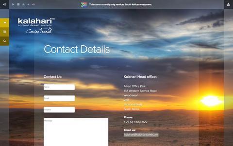 Screenshot of Contact Page kalaharilifestyle.com - Contact Details - Kalahari - captured Oct. 29, 2014