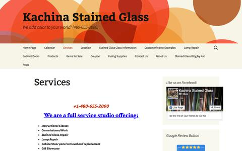 Screenshot of Services Page kachinastainedglass.com - Services | Kachina Stained Glass - captured July 13, 2019