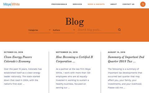 Screenshot of Blog moyewhite.com - Denver Legal Blog | Moye White - captured Oct. 18, 2018