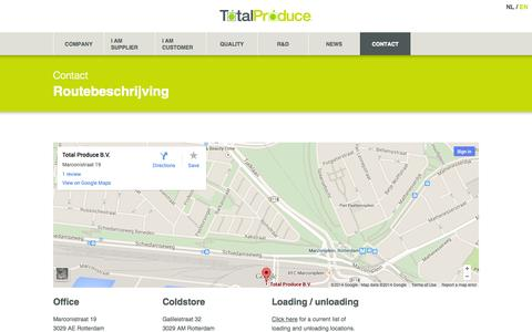 Screenshot of Maps & Directions Page totalproduce.nl - Routebeschrijving - Total Produce - captured Oct. 3, 2014