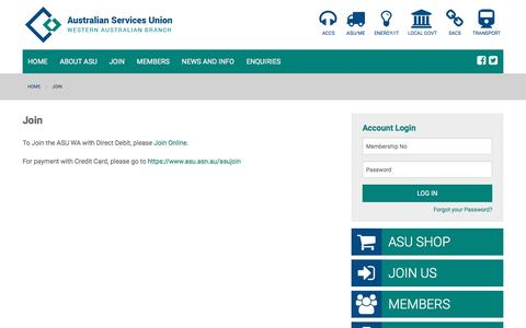 Screenshot of Signup Page asuwa.org - ASUWA   Join - captured Jan. 27, 2017