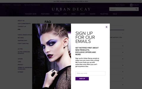 Screenshot of FAQ Page urbandecay.com captured Oct. 29, 2015
