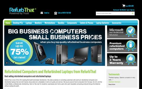 Screenshot of Home Page refurbthat.com - Refurbished Laptops and Computers | RefurbThat - captured Dec. 5, 2015