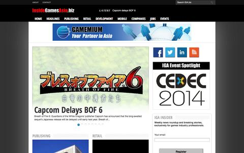 Screenshot of Home Page insidegamesasia.biz - InsideGamesAsia.biz | The latest news from the Asian games industry - captured Oct. 6, 2014