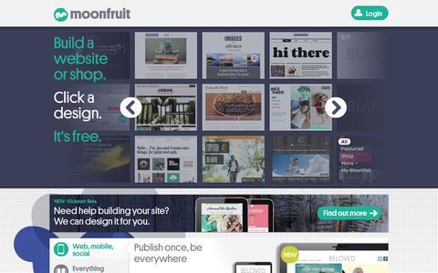 Screenshot of Home Page moonfruit.com - Free Website Builder | Make Your Own Website | Moonfruit - captured Oct. 10, 2014