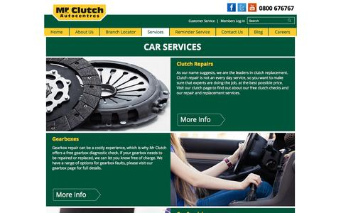 Screenshot of Services Page mrclutch.com - Car Servicing | Tyre Replacement | MOT Testing | Brake Repairs - captured Jan. 18, 2016