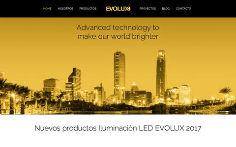 Screenshot of Home Page evolux.cl - EVOLUX Lighting Co. LED Made in Chile - captured Oct. 18, 2016