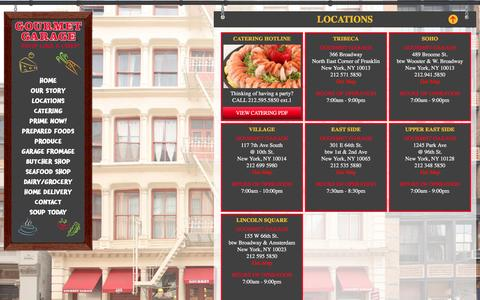 Screenshot of Locations Page gourmetgarage.com - Gourmet Garage Locations | NYC stores | Carnegie Hill | Soho | Upper East Side | Greenwich Village | Lincoln Square - captured Feb. 1, 2016