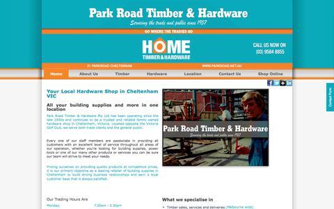 Screenshot of Home Page parkroad.net.au - Building Supplies Cheltenham | Park Road Timber & Hardware - captured July 14, 2017