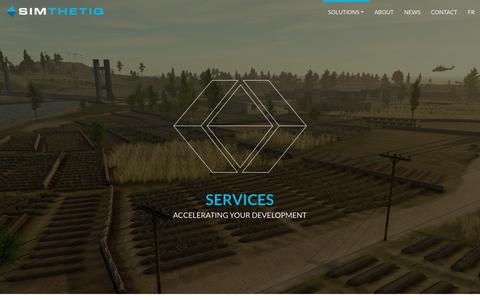 Screenshot of Services Page simthetiq.com - Services - Simthetiq - captured July 27, 2018