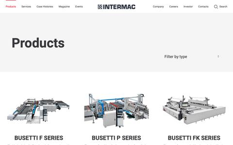 Screenshot of Products Page intermac.com - Products - glassworking Machinery - Intermac - captured Oct. 28, 2018