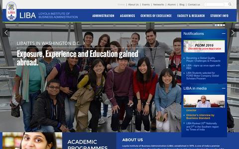 Screenshot of Home Page liba.edu - Home - LIBA - captured Nov. 13, 2015