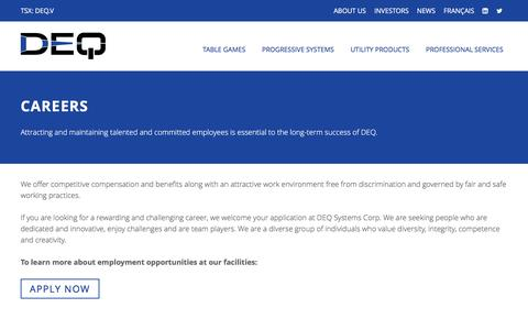 Screenshot of Jobs Page deq.com - DEQ Systems Corp. - Careers - captured Nov. 23, 2016