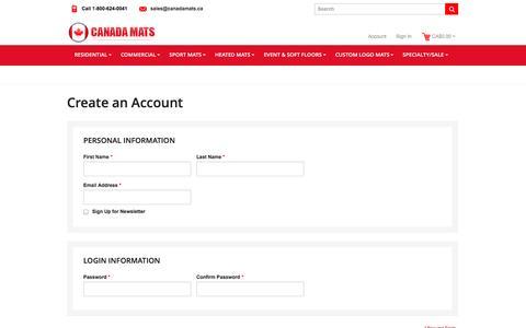 Screenshot of Login Page canadamats.ca - Create New Customer Account | Canada Mats - captured Sept. 27, 2014
