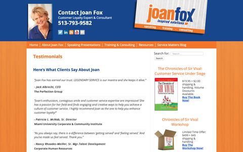 Screenshot of Testimonials Page joanfox.com - Testimonials - JoanFox.com - captured Sept. 26, 2018