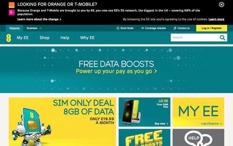 Screenshot of Home Page ee.co.uk - Superfast 4G Phones & Fibre Broadband UK | 4GEE Mobile Network | EE - captured July 9, 2016