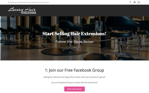 Screenshot of Home Page luxuryhairdirect.com - How to Start a Hair Extensions Business (Sell Weave Online!) - captured July 24, 2018
