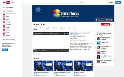 Screenshot of YouTube Page youtube.com - Driver Turbo  - YouTube - captured Oct. 23, 2014
