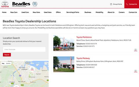 Screenshot of Contact Page Locations Page beadles.co.uk - Toyota dealers near you from Beadles - captured Jan. 29, 2018