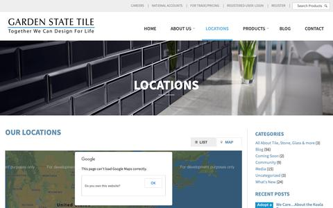 Screenshot of Locations Page gstile.com - Locations | Garden State Tile - captured Sept. 27, 2018