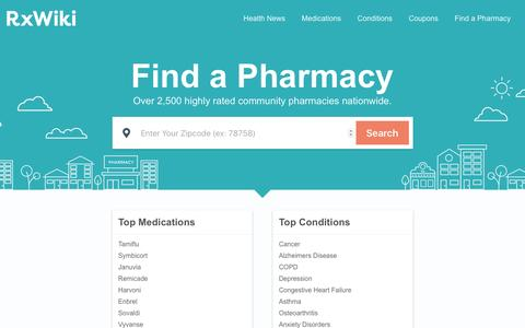Screenshot of Home Page rxwiki.com - Pharmacy Website, Mobile Apps, Solutions and Drug News | RxWiki - captured April 2, 2017