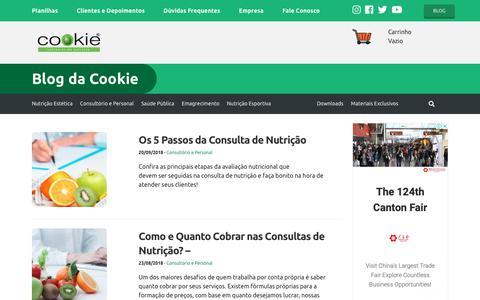 Screenshot of Blog cookie.com.br - Blog da Cookie | Cookie® Softwares de Nutrição - captured Sept. 29, 2018