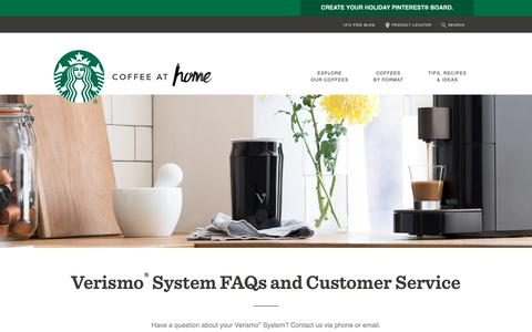 Screenshot of Support Page starbucks.com - Verismo® System FAQs and Customer Service | Starbucks® Coffee At Home - captured Dec. 13, 2018