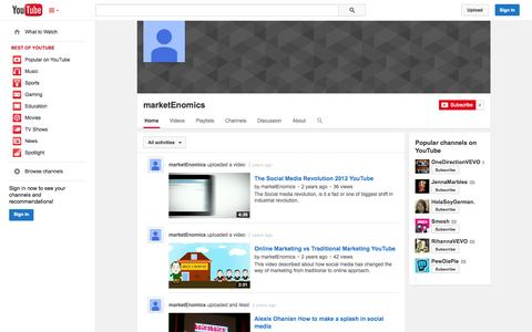 Screenshot of YouTube Page youtube.com - marketEnomics  - YouTube - captured Oct. 26, 2014