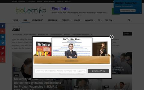 Screenshot of Jobs Page biotecnika.org - Latest Hot Jobs in Biotech / Pharma Industry - captured July 29, 2016
